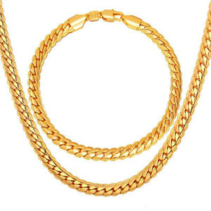 Jewelry - 5mm 18K Real GP Snake Chain Necklace Bracelet Set